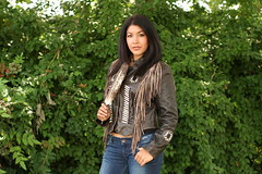 Brown Leather Turtle Jacket (Great Bear Fashions) Tags: woman fashion native designer western biker firstnation designerclothing leatherjacket turtleisland nativewoman