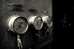 Three Gauges (Harri_1970) Tags: old wallpaper blackandwhite bw signs metal museum canon finland three industrial factory text pipe hana 5d canon5d museo value pressure measure gauge uusikaupunki bonk gauges kolme tehdas mittarit viisarit voiteluljy polttoljy