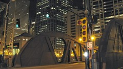 The North Clark Street bridge over the Chicago River and the city skyline. Chicago Illinois. August 2008.