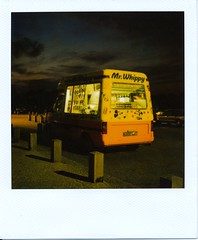 Mr. Whippy (Lady Vervaine) Tags: uk longexposure pink light england white lynch london film strange childhood night dark polaroid sx70 glow shine darkness britain sinister surreal retro 600 icecream memory glowing van 1970s seventies shining oldfashioned lynchian incongruous icecreamvan mrwhippy davidlynch polaroidsx70 londonist blendfilter artlegacy magicdonkeysbest manymanytags