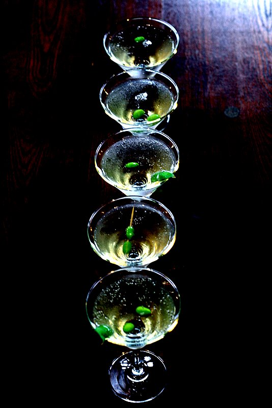 martini with edamame
