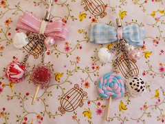 New phonestraps! (Sugar & Venom) Tags: cute bag sweet handmade cream clay bow kawaii lollipop phonestrap polymer