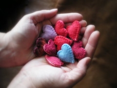 the gift (lilfishstudios) Tags: love wool felted hearts bright handmade decoration handsewn pinks repurposed lilfishstudios feltedwoolsweater