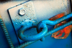 better locked (Stephan Wita) Tags: blue 2 macro metal by lens screw 50mm graffiti nikon gate iron with lock ring photograph hook stephan wita d40 1on1objectsphotooftheweek betterlocked 1on1objectsphotooftheweekseptember2008