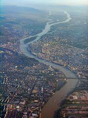 Budapest aerial 080820-4 (Romeodesign) Tags: above city morning sunrise river airplane hungary capital budapest flight bridges aerial duna danube donau csepel gettyhungary1