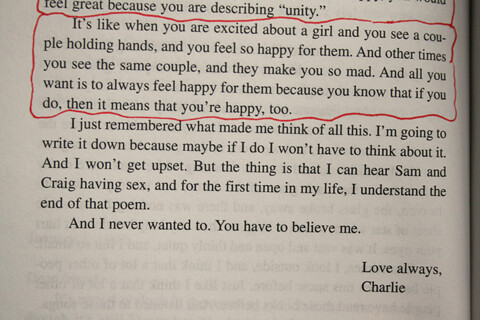 an analysis of a quote from the perks of being a wallflower by stephen chbosky Stephen chbosky was born on january 25, 1970 in pittsburgh he graduated from the university of southern california's filmic writing program in 1992 stephen writes mostly novels, but he is also a screenwriter.