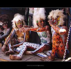 Tiger under pressure? (My Trip Guide) Tags: travel people art tourism festival tiger performance celebration tigers karnataka mangalore performingartists festivalseason navarathri pulikali danceartist southcanara hulivesha aswathi233 tigerdance photographymanoj manojphotography mtv233streetpley
