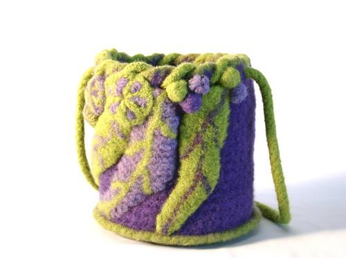 fulled bag with freeform motifs