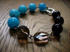 iced coffee (samantha_tenn) Tags: christmas blue brown handmade jewelry bracelet etsy smokeyquartz toggleclasp turquoiseglass