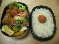 Chicken meatball bento (skamegu) Tags: food pumpkin rice bento japanesefood    kabocha   bentos