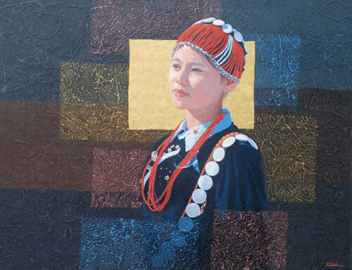 Hill Tribe of Myanmar series 13, by Tin Win, mixed media, 90x120cm