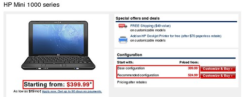 HP Mini 1000 Pricing