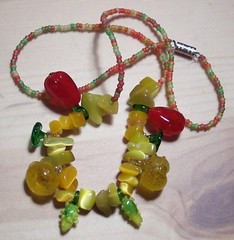 Bountiful Harvest Thanksgiving Veggies Necklace (Bebopgirl1969) Tags: thanksgiving red green glass yellow necklace corn handmade harvest squash bead peppers veggies etsy beaded thebestyellow