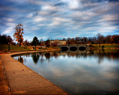 At the end of Autumn (sandrajkammerer) Tags: park county bridge autumn lake ny colors canon way buffalo angle walk background wide historical delaware erie society hdr 1022 hoyt 40d