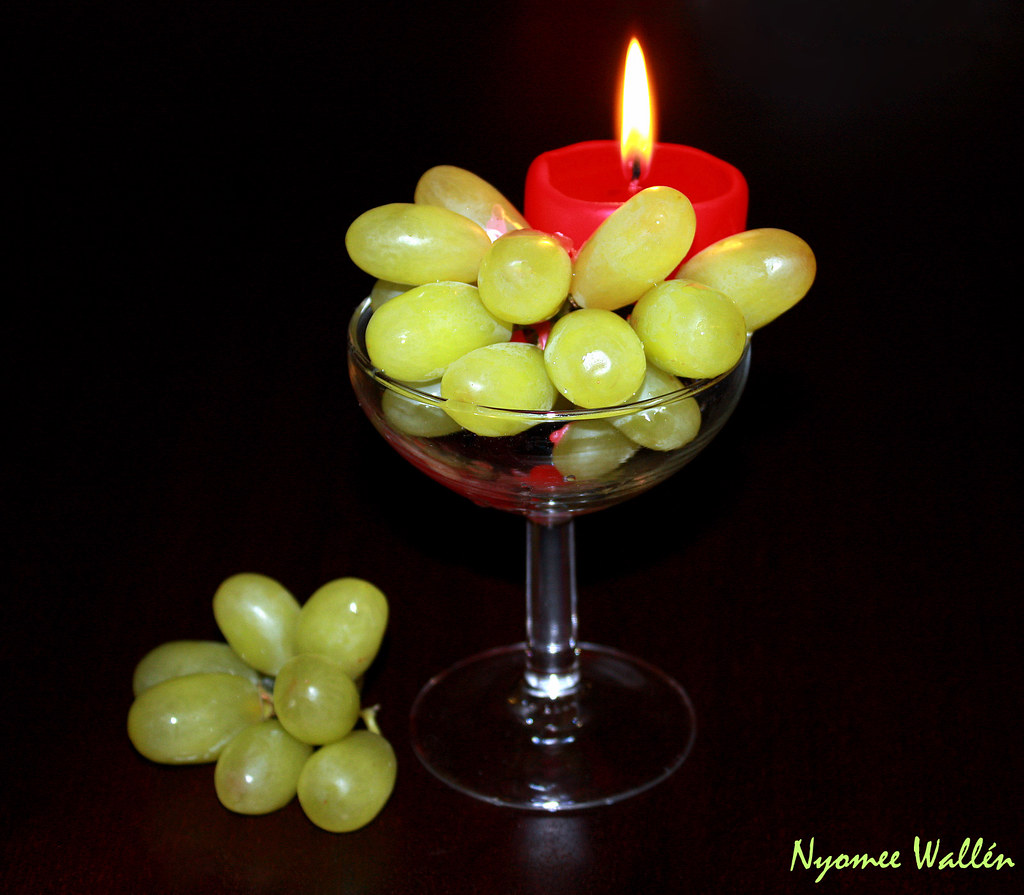 A glass of grapes.