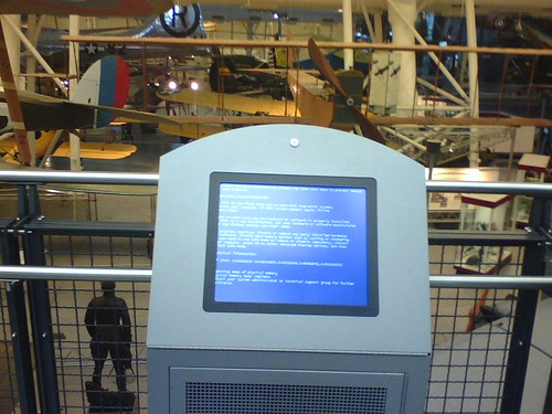 Blue Screen of Death in Smithsonian Air and Space Museum Annex