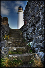 lighthouse steps (white_balance) Tags: lighthouse grass stone wall clouds stairs scotland steps perspective bluesky montrose lichen northeast hdr height sharpness scurdyness