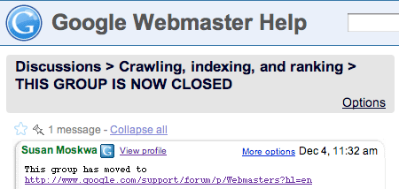 Google Webmaster Groups Closes