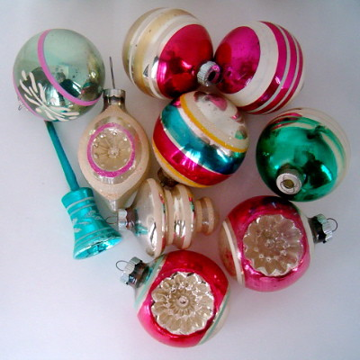 VINTAGE MERCURY GLASS ORNAMENTS #3