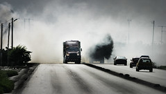 Smoke on the road (Ola Jacobsen) Tags: road peru car truck landscape fire interesting carretera canoneos10d smoke explore route estrada asphalt trujillo 7days fpg canonef70200mmf40l favoriteslanscape fumigada