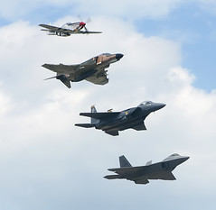 F-22 Raptor, F-15 Eagle, F-4 Phantom II & P-51 Mustang (mikelynaugh) Tags: max heritage force eagle air flight formation raptor f22 mustang phantom usaf f4 snort p51 snodgrass p51mustang f15 jsoh f15eagle f4phantom moga andrewsairforcebase andrewsafb f15strikeeagle strikeeagle heritageflight f22raptor jointservicesopenhouse