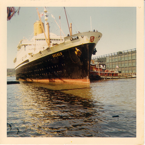 1968 SS Bremen Ocean Liner Approaching Port in NYC