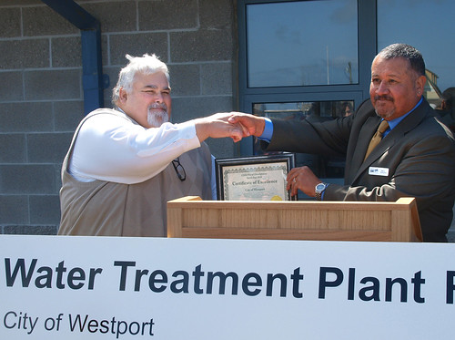 City of Westport Mayor Michael Bruce accepts a funding certificate representing a $3.9 million loan through USDA Rural Development's Waste and Environmental Program which will be used for the city's Wastewter Treatment Facility Renovation Project.