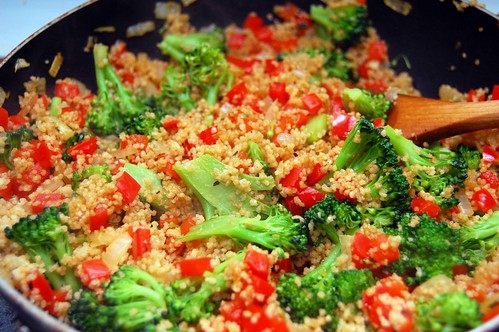 Red Pepper and Broccoli Couscous Pilaf