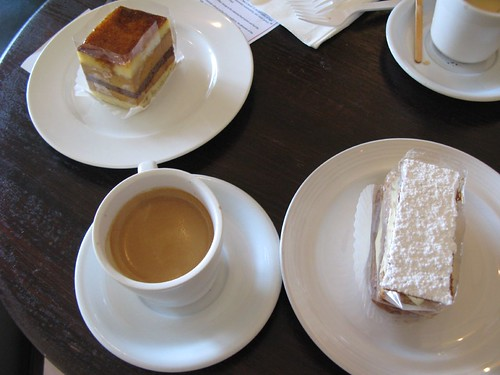 Caramel cake and Napoleon (with espressos) at Sage French Cake