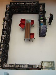 looking down on the new books area from the staff floor