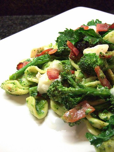 orrechiette with PSB, gorgonzola, and bacon, with PSB and chestnut pesto