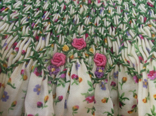 close up of dress embroidery