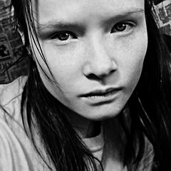 S t a y (bye bye ) Tags: light blackandwhite bw selfportrait sadness weird intense shadows looking expression background patterns details longhair desperate depression mysterious stare expressive cropped depressed emotional simple staring 2008 emotions powerful emotive bg feelings coldness blurryness