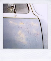 . (Rebecca...) Tags: uk film rain vw writing volkswagen polaroid sx70 bay rust cornwall camper blend filler surfwagon inrustwetrust savepolaroid