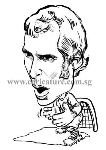 Caricature of Petr Cech ink watermark