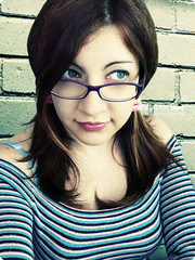 stripes addicted. (*northern star) Tags: girl me portrait selfportrait io yo je stripes striscie urbanacid glasses purple occhiali viola azzurro blue rosa pink halfsmile wall bricks muro mattoni canon adobe photoshop cs3 acid acido acida codini 52weeksproject week4 righe explore explored tititu northernstar northernstar northernstarandthewhiterabbit northernstarphotography allrightsreserved usewithoutpermissionisillegal ifyouwannatakeitforpersonalusesnotcommercialusesjustask donotsteal