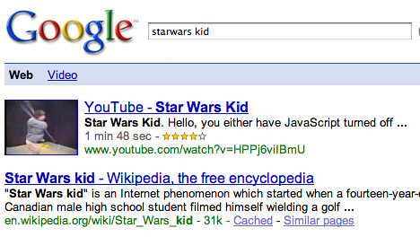 Google Video Results Missing Plus Sign