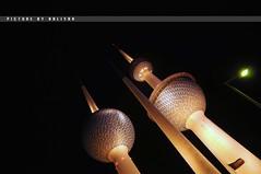 Kuwait Towers - Night #2 (Sarah Al-Sayegh Photography | www.salsayegh.com) Tags: light night nikon flag towers kuwait d300 kuwaittowers nikond300