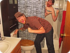 Cylon Apartment - Episode Three (Capt. Tim) Tags: bathroom shower twins funny comic apartment roommates lol joke humor toilet humour clones laugh scifi prank sciencefiction flush pranks copy cbgbs genetics comical showercurtain battlestar galactica cylon battlestargalactica copies doppleganger cylons dopplegangers skinjob