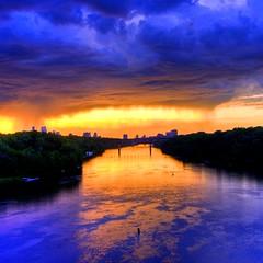 Mississippi Skyline (Tony Webster) Tags: sunset summer orange storm minnesota skyline clouds river dark minneapolis mississippiriver hdr lakestreetbridge photomatix 6xp 20080621mplsb cgg1508 crv1523