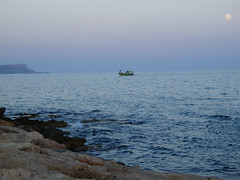 Evening Boat Ayia Napa (grahambrown1965) Tags: sea moon water evening boat cyprus olympus lovepeace ayianapa supershot aplusphoto diamondclassphotographer flickrdiamond olympus770sw 770sw thatsbostin goldstaraward solofotos skyascanvas placesyouvisit