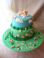 Ella's Baptism Cake (Andrea's SweetCakes) Tags: flowers angel clouds butterfly mushrooms bugs ladybugs snails toadstools baptismcake