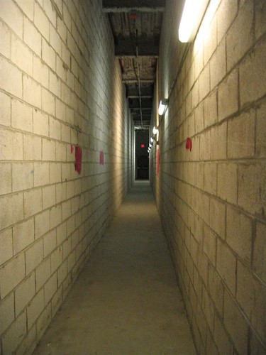Long underground fire escape hallway