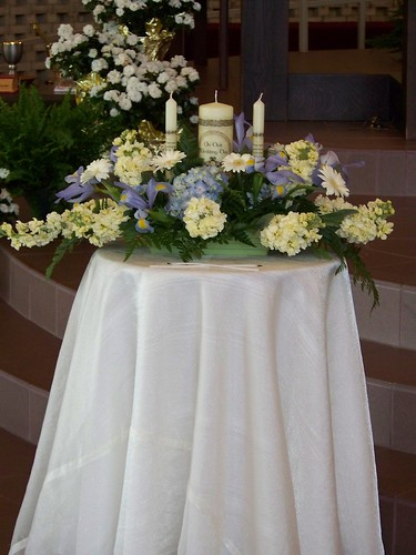 blue candles flowers Unity Candle at Unity Candle Arrangement at Our Lady of