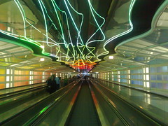 O'Hare Terminal's Moving Walkway (Storm Crypt) Tags: chicago subway illinois airport pavement terminal ohare hallway il international ord airportterminal movingpavement mywinners centralus