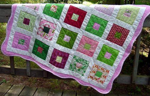 pink green quilt