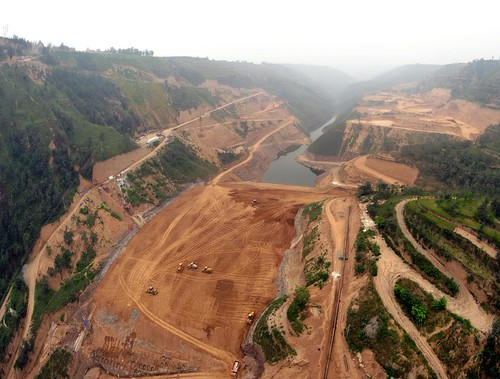 New earth dam being constructed near Yongshou, Shaanxi Province, China