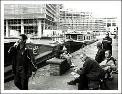 Canal Side Developments (James W Bell (Good Honest Iago) - Leeds) Tags: people blackandwhite bw public photography construction leeds streetphotography documentary streetphoto innercity grayscale unposed socialcommentary socialdocumentary leedsliverpoolcanal holbeck peopleunposedinpublic southleeds leedsdocumentary