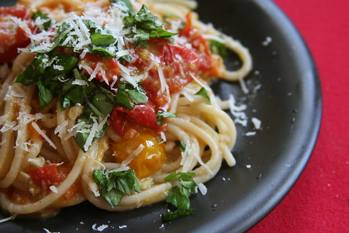 Pasta with roasted cherry tomato sauce and romano cheese 2