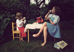The tea party. (olivia bee) Tags: girls portrait people gorilla sweetpea hiding teaparty lillie teenagephotographer oliviabee